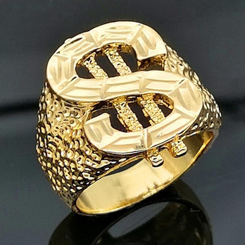 Классическое кольцо с изображением знака доллара США в уличном стиле золотого цвета в стиле хип-хоп кольцо для диджея рэпперса мужские перс...