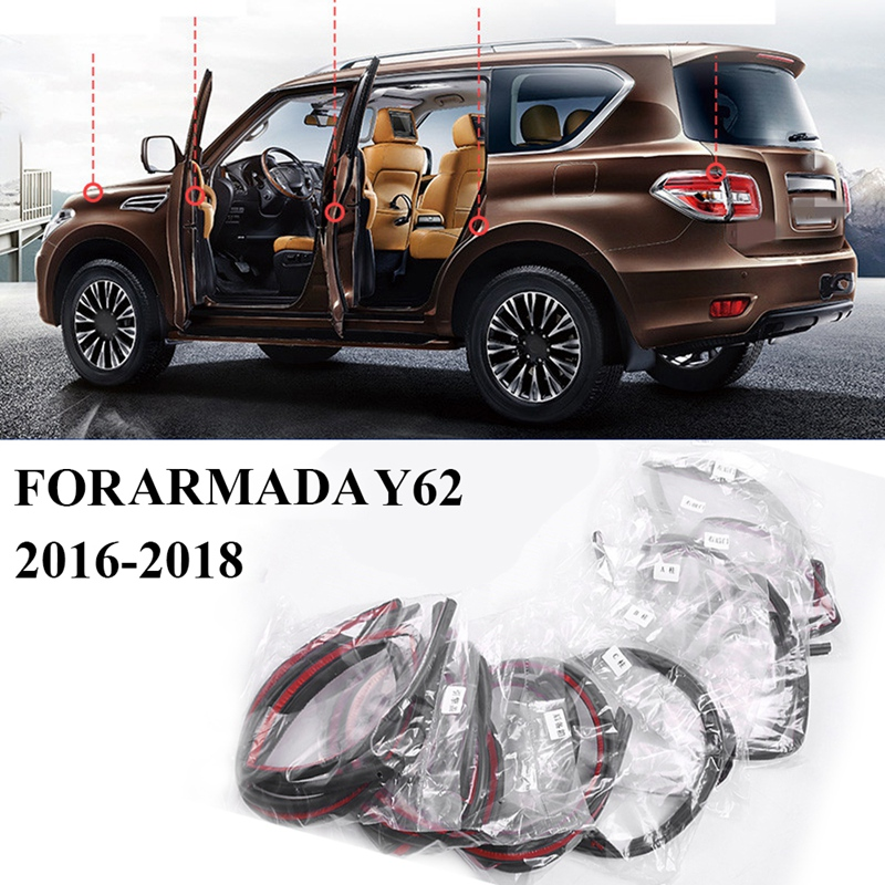 Car Door Seal Strip Kit Rubber Seal Sound Insulation Weatherstrip Seal for Nissan Patrol Y62 A-Rmada 2016 2017 2018