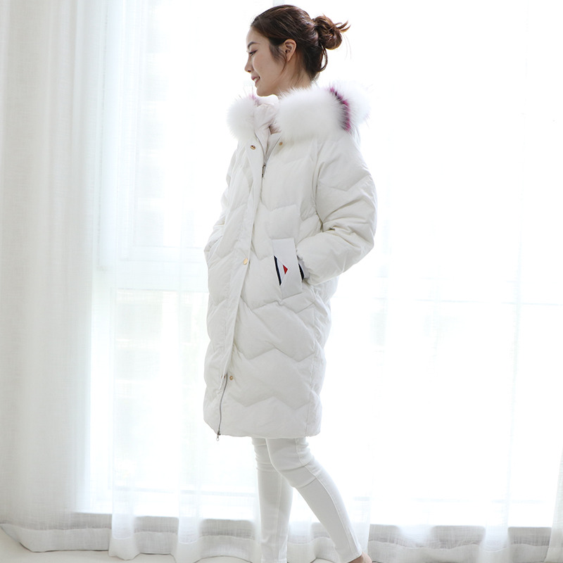 White Duck Down Jacket Women For Winter 2020 Fox Big Fur Collar Black Long Coat Parkas Chaquetas Invierno Mujer KJ492