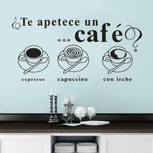 Cafe Wall Stickers Spanish Quotes Te apetece un cafe Home Decor Dining Room Vinyl Kitchen Interior Design Art Wall Decals RU154(China)