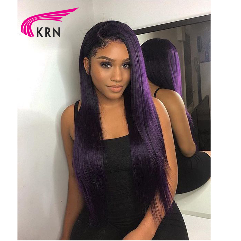 "KRN Straight 13x6 Lace Front Middle Ratio 8""-26"" Remy Human Hair Wigs Pure Purple Color Free Part Pre-Plucked Hairline180density"