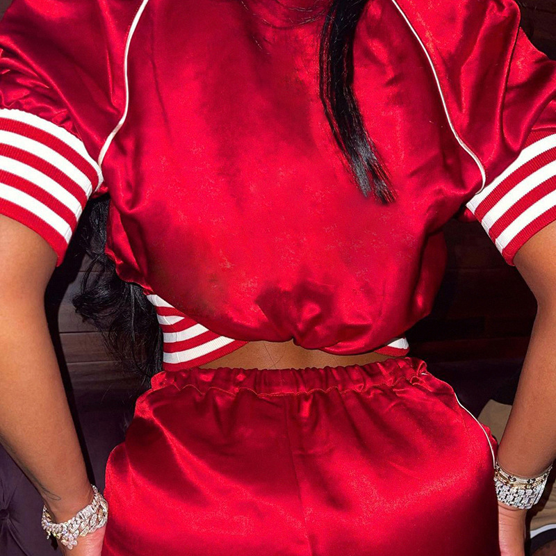 Sporty Zip Up Top And Shorts 2 Piece Tracksuits Casual Satin Summer Baddie Women - sports