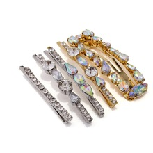 Fashion 5pcs/set Crystal Barrettes For Women Alloy Hairpins Silver Hair Clips Female Wedding Jewelry Gift Set