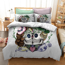 Bedding Set Printed Skull For Home Queen King 12 Sizes Duvet Cover With Pillowcase Linen 2/3Pcs Luxury Textiles