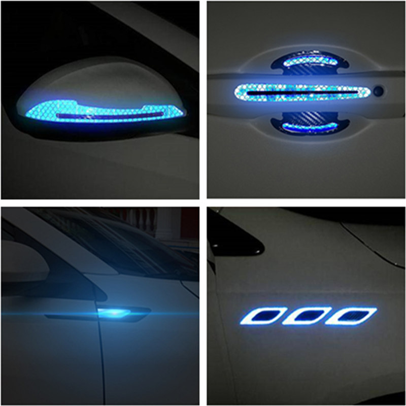 2PCS รถสติกเกอร์สะท้อนแสงประตูจับประตูชามสำหรับ Ferrari BMW Audi Toyota Honda MAZDA Hyundai Mercedes Benz ford