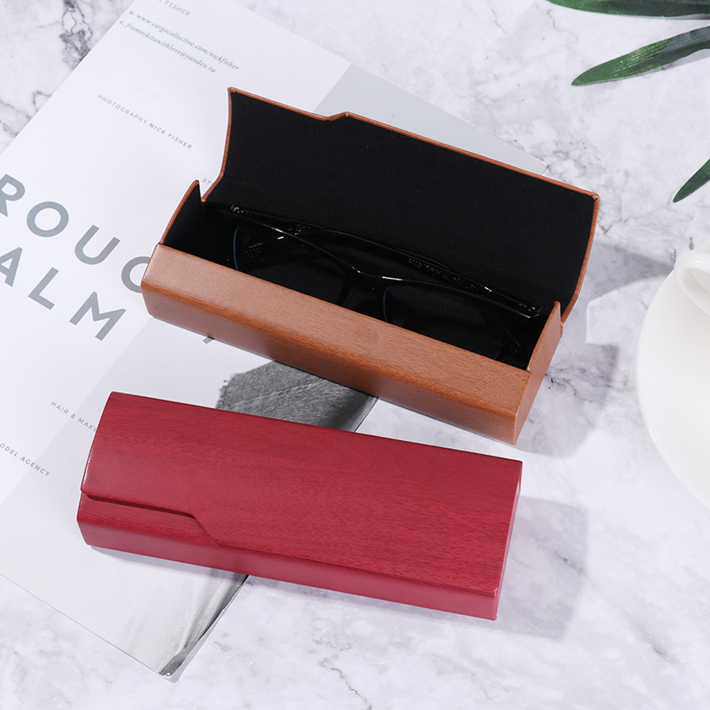 1Pcs New Spectacle Case Unisex Portable Imitation Wood Grain Sunglass Box Glasses Women Hard Handmade Square Fold Box Men Gifts