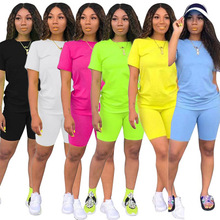 Two-piece Solid Color Women's Clothing. Short-sleeved Crew Neck T-shirt and Tight-fitting Shorts. Simple Style Tracksuit Outfit color block crew neck hem t shirt