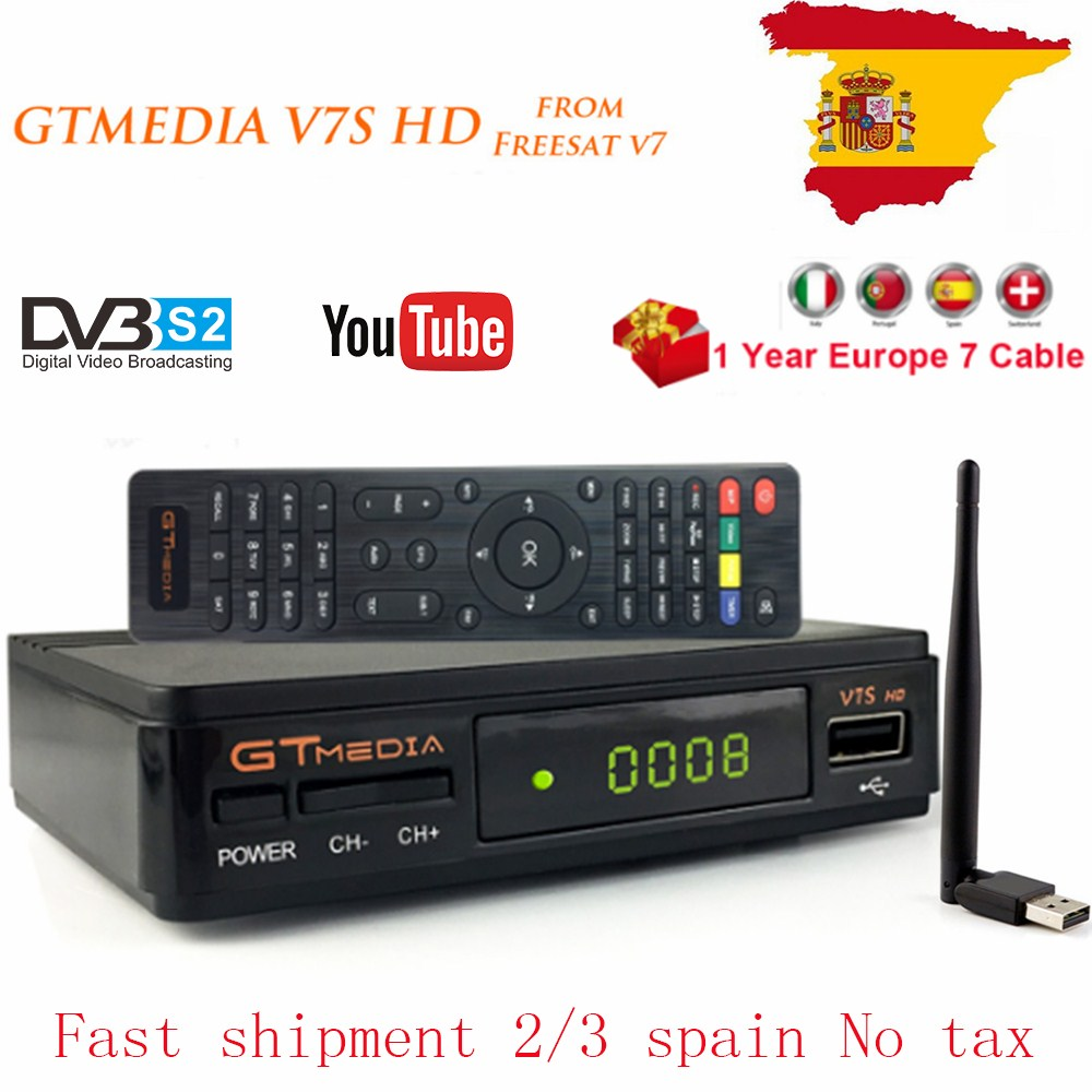 V7S HD 1080P DVB-S2 Satellite Receiver Fressat V7 Support Youtube Dolby AC3 With USB Wifi 1 Year Europe 7 Lines Cccam For Spain