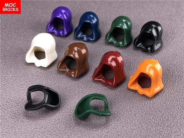10 ピース/ロットmocレンガヘッドギアフードヘルメット折り畳む図アクセサリーフィットと 30381 & 15428 ビルディングブロックのおもちゃ子供ギフト