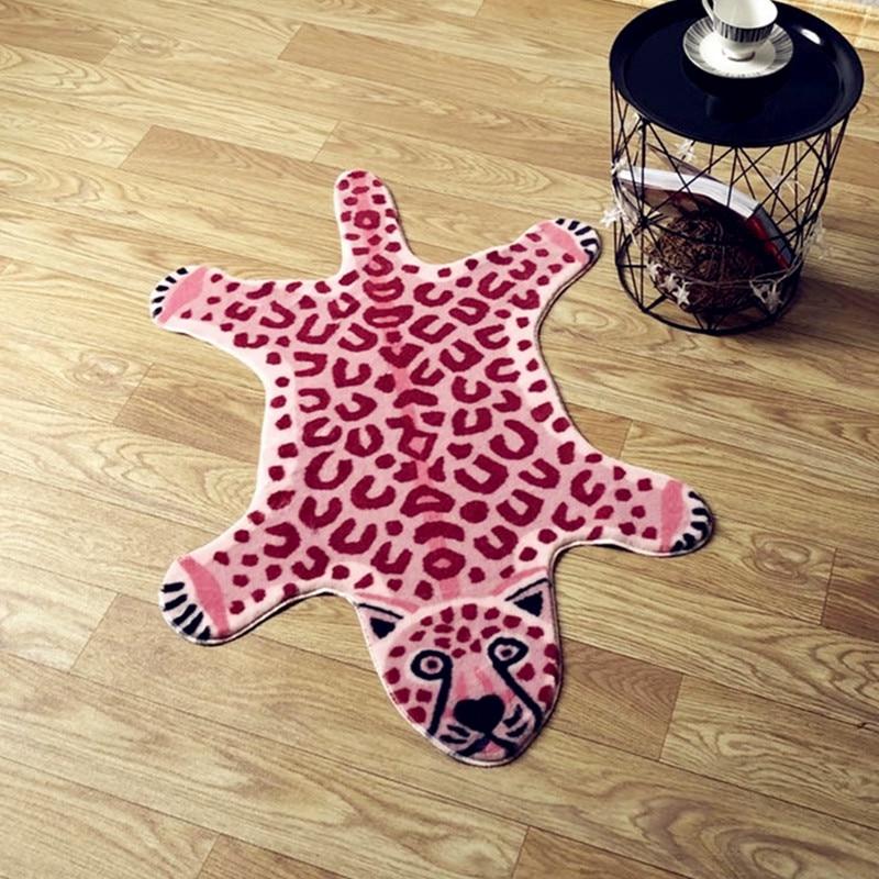 2020 New Tiger Printed Rug Cow Leopard Tiger Printed Cowhide Faux Skin Leather NonSlip Antiskid Mat Animal Print Carpet