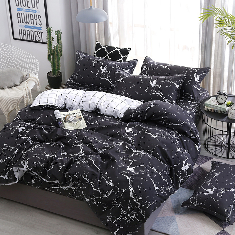 Marble Printed 4pcs Girl Boy Kid Bed Cover Set Duvet Cover Adult Child Bed Sheets Pillowcases Comforter Bedding Set 61033