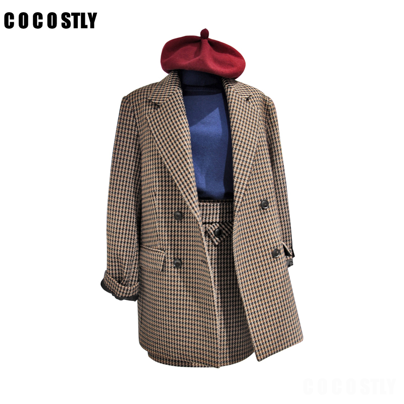 Two Piece Set Women Skirt Set Work Wear Blazer + Short Skirt Suits Novelty Plaid Professional Office Lady Business 2 Piece Sets