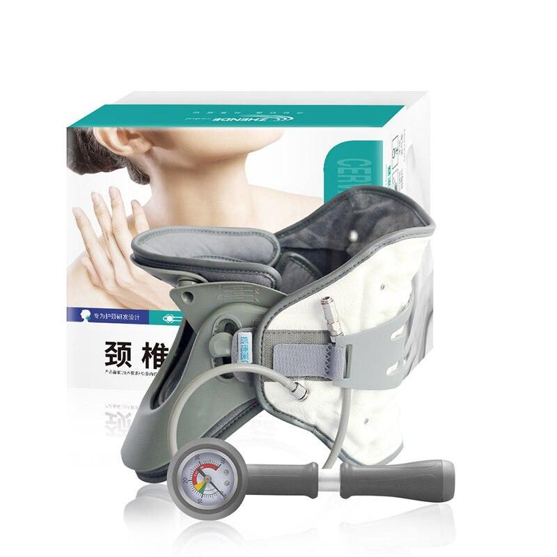 Надувной шейный ошейник для тяги шеи, приспособления для растяжения шеи, шейный ошейник для тяги, поддерживающий фиксатор ZHENDE - Цвет: GRAY