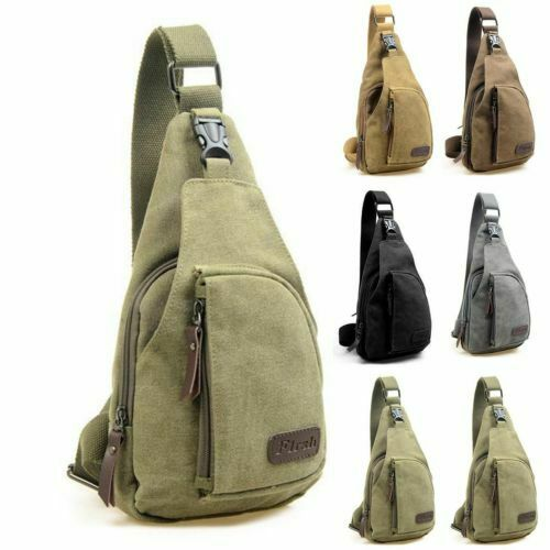 Men Sling Bag Chest Cross Body Shoulder Canvas Messenger Pack Travel Hiking Waist Packs Pack
