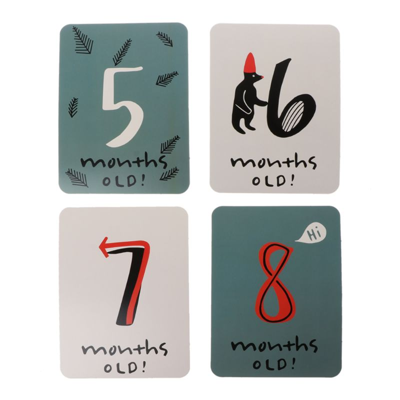20Pcs/Set For Memory Baby Pregnant Women Monthly Photograph Sticker Fun Month 1-12 Milestone Cards
