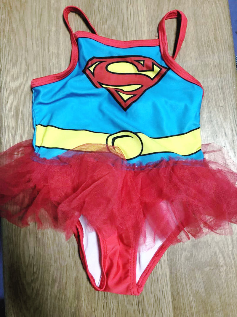 Clearance Spring Anime Superman Girls Small CHILDREN'S CHILDREN'S Baby One-piece With Lace Edge Bathing Suit Tour Bathing Suit