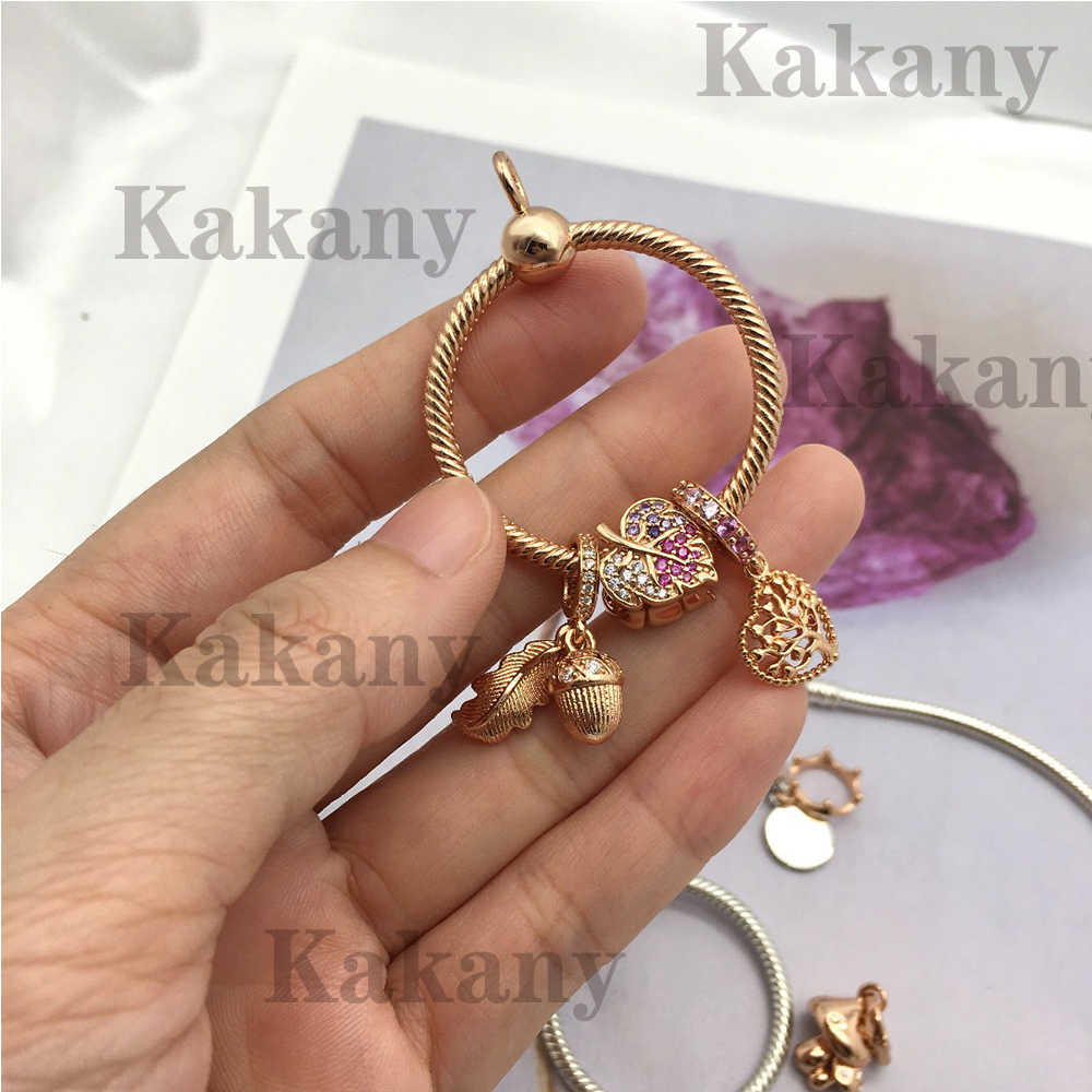 2019 Autumn New Sterling Silver S925 Rose Gold Moments O Pendant Diy With Pink Love Leaves Acorns And Leaves Hanging Beads
