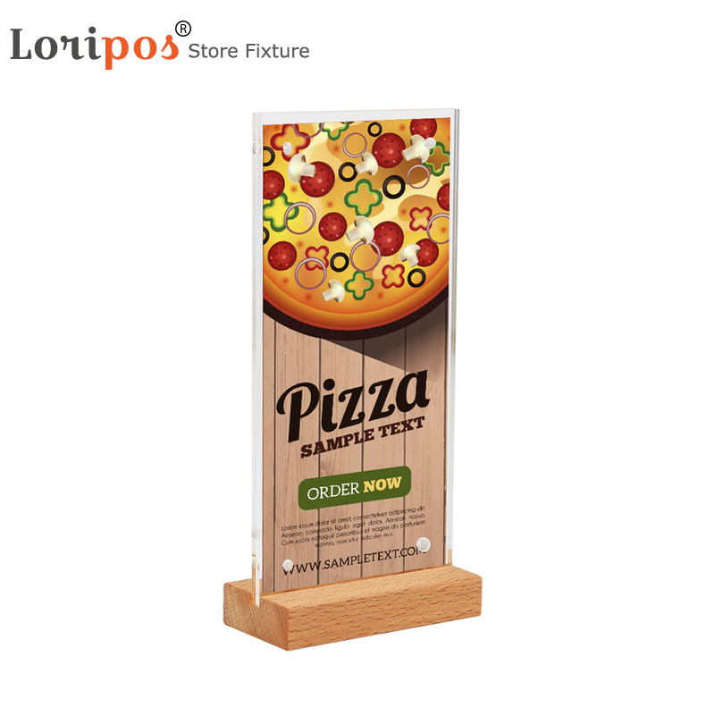 10*20CM Tabletop Wood Base Sign Holder For Restaurant Library Coffee Book Store Upright Acrylic Table Menu Holder Display