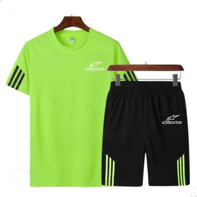New Summer Quick-dry Sports Set Men 2pc Tracksuit Short Sweat Shirt + Shorts Mens Casual Slim Fit Jogger Shirts Sportswears 5XL