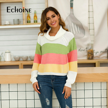 Fashion Multicolor Striped Turtleneck Women Tops Sweater 2019 Outwear Pullovers Autumn Casual Womens Chrismas Sweaters