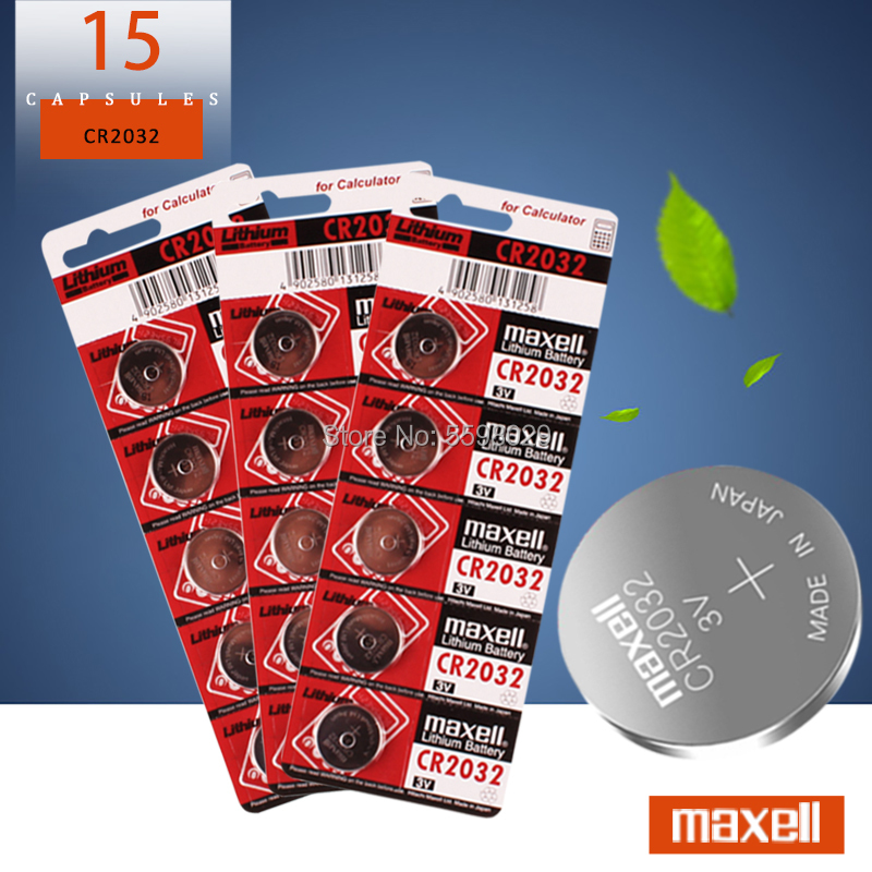 15pcs For maxell original 2032 battery cr2032 3v Button Cell Coin Lithium Batteries for Watch Computer Toy Remote Control