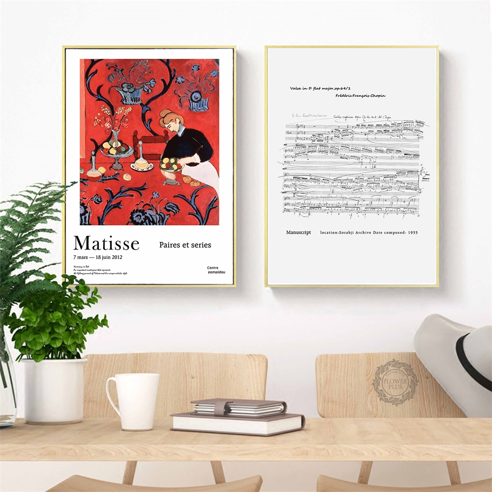 Matisse Simple Fashion Modern Chopin Music Score Home Decor Painting Posters and Prints Canvas Art Wall Picture for Living Room