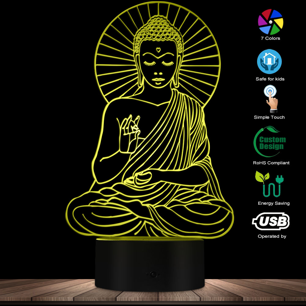 Buddha Portrait Novelty Lighting Table Lamp Sakyamuni Silhouette Glowing Night Light Buddhism Theme Energy Efficient Desk Light