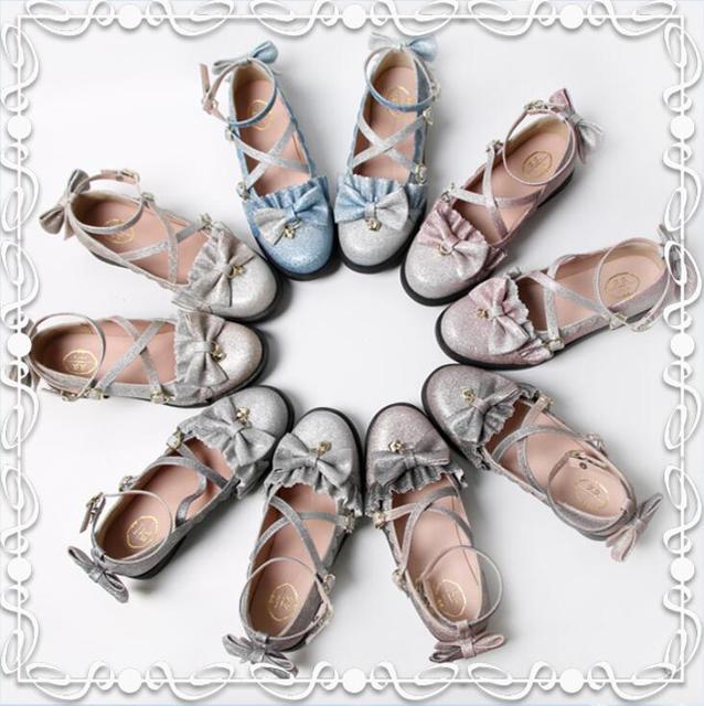 Фото аниме косплей туфли лолиты в винтажном стиле с круглым носком
