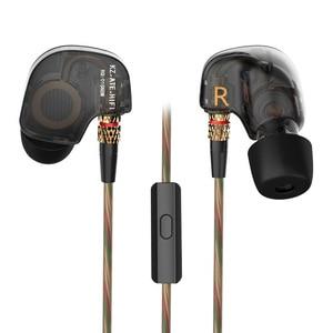 Image 5 - KZ ATE 1DD الديناميكي سائق HiFi سماعات رياضة إلغاء الضوضاء في الأذن رصد سماعات للألعاب مع ميكروفون شفاف