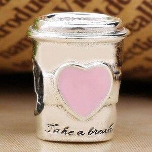 Оригинальные розовые эмалированные бусины на вынос кофейного напитка, подходят для бусины из стерлингового серебра 925, очаровательный брас...