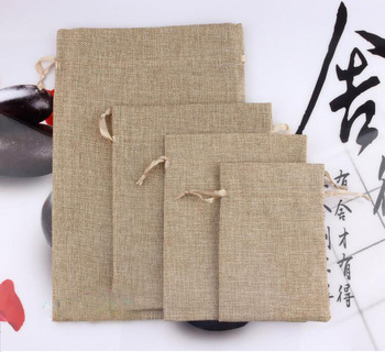 10*15 50pcs Jute Drawstring Sacks gift bags with jewelry/Accessories/Cosmetic/wedding/christmas Linen pouch Packaging Bag