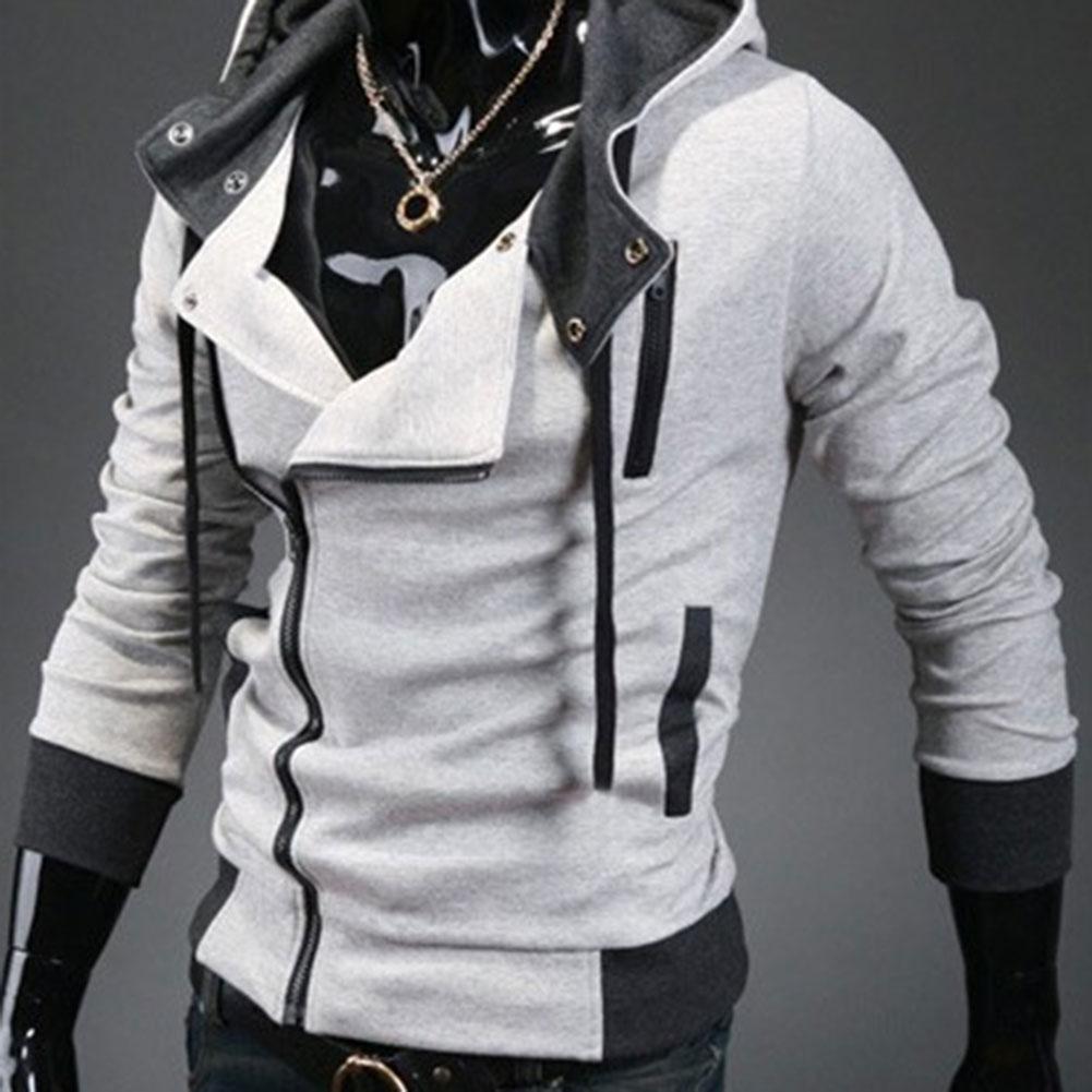 Mode hommes polaire sweat à capuche couleur Patchwork côté veste à glissière décontracté hommes à manches longues noir gris bleu à capuche manteau - 5