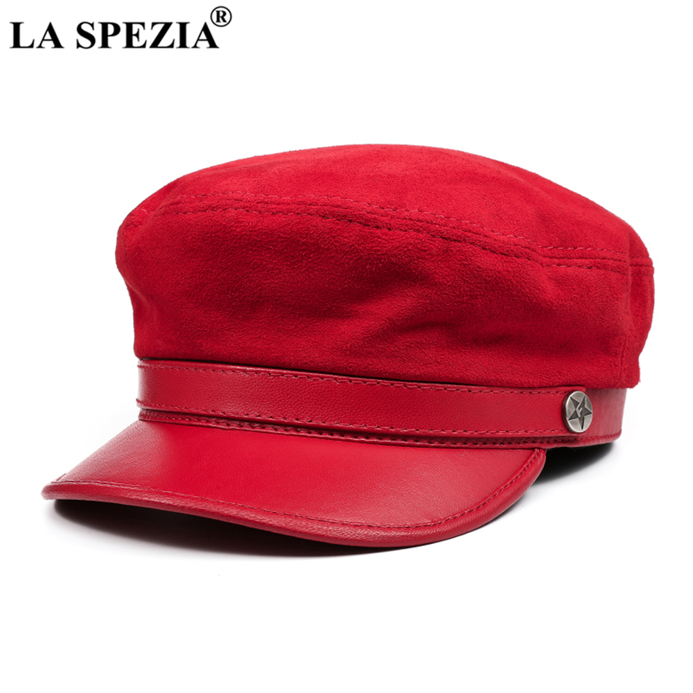 LA SPEZIA Fiddler Hat Women Men Red Newsboy Cap Genuine Leather British Retro Brand Ladies Baker Boy Cap