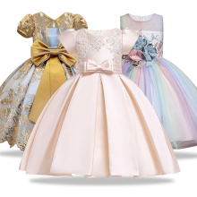 Пышное платье для выпускного вечера для девочек; кружевное детское вечернее платье с вышивкой для свадебной вечеринки; платья для девочек; платье для первого причастия; фатиновое платье с бантом