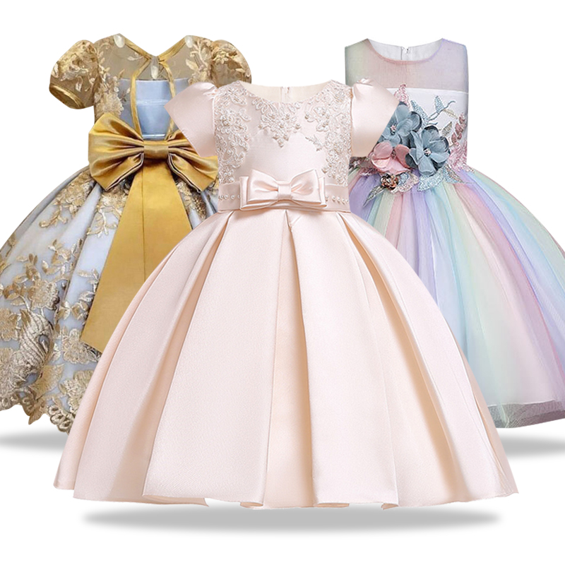 Girl Pageant Prom Gown Embroidery Lace Kids Evening Party Dress For Wedding Girl Dresses First Communion Dress Bow Tulle