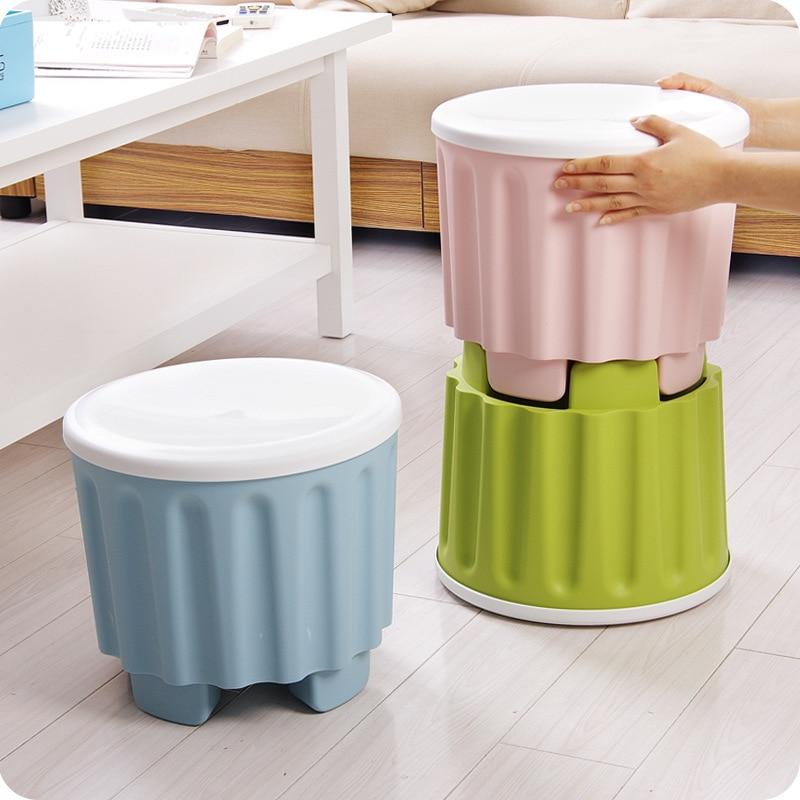 Plastic Storage Stool Multi-function Overlay Storage Stool Fashion Creative Adult Stool Furniture