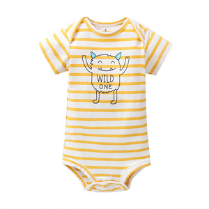 Image 3 - cartoon monster baby bodysuit newborn boy girl clothes new born short sleeve onesie cotton unsisex body clothing 2020 5PCS/SET