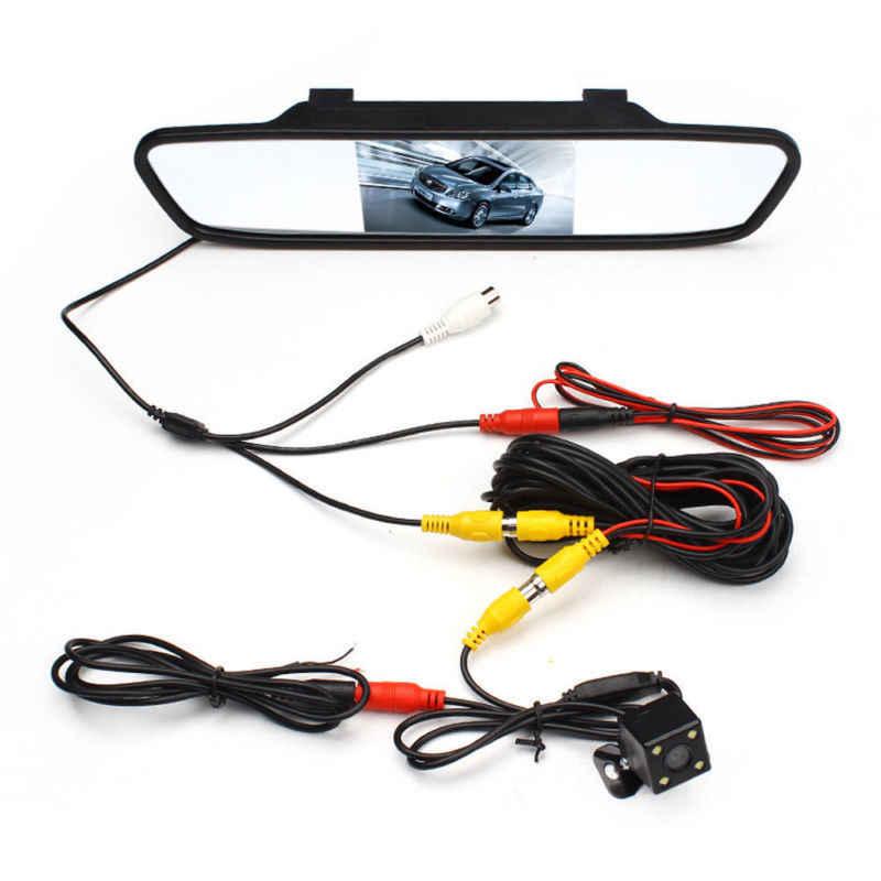 AMPrime 4.3 بوصة سيارة HD مرآة الرؤية الخلفية رصد CCD فيديو السيارات مساعد صف سيارة LED للرؤية الليلية عكس كاميرا الرؤية الخلفية