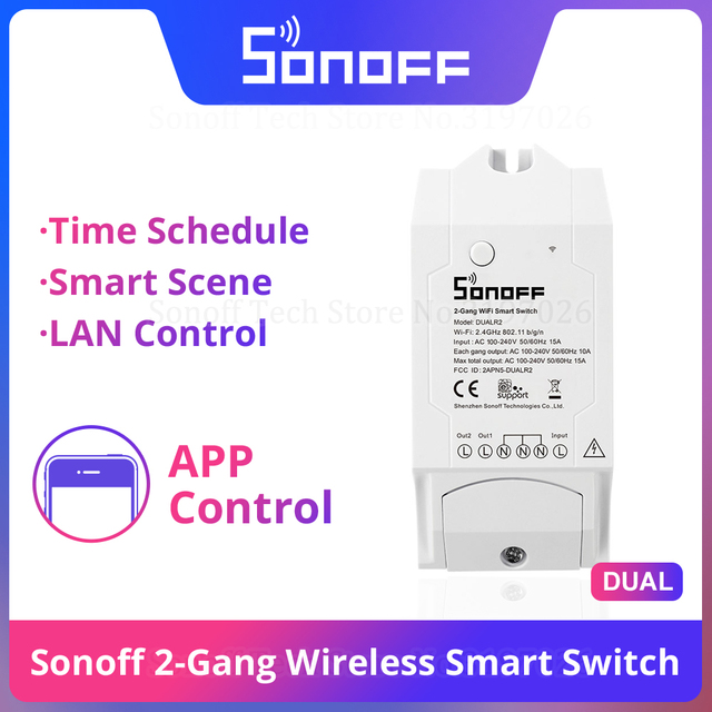 Itead Sonoff 듀얼 2 갱 와이파이 라이트 스위치 원격 제어 스위치 스마트 홈 와이파이 모듈은 알렉사와 함께 작동 Google 홈 IFTTT