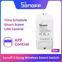 Sonoff enchufe inteligente Itead de 2 entradas con Wifi, enchufe de Control remoto inteligente en casa, funciona con Alexa, Google Home y IFTTT