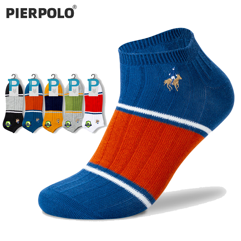 PIER POLO Socks Fashion Cotton Funny Socks For Man High Quality New Low Cut Summer Short Socks Meias