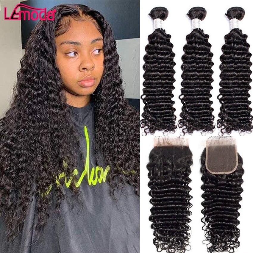 Tissage en lot Deep Wave brésilien Remy avec Closure, 30 pouces, extensions de cheveux naturels, avec Frontal Lemoda, lots de 3 4  
