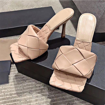 Square Toe Weave Slippers Genuine Leather Women Outdoor Cow Leather Upper Sheepskin Insole Sandals Ladies Slides