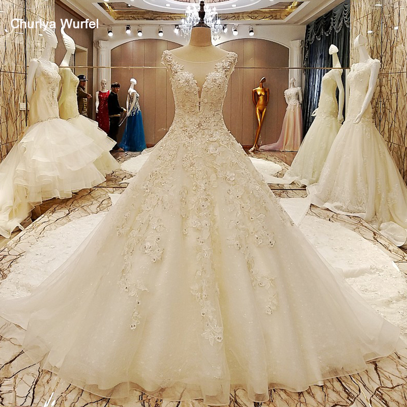 LS70985 Elegant Bridal Gowns Cape Sleeves Ball Gown Flower Wedding Gowns With Long Tail Robe De Mariage 2017 Real Photos