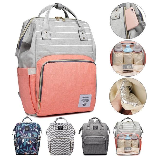 Lequeen Diaper Bag Nursing Care Baby Bag Stripe Maternity Bag Travel Nappy Bag Organizer Waterproof Maternity Patchwork Bag