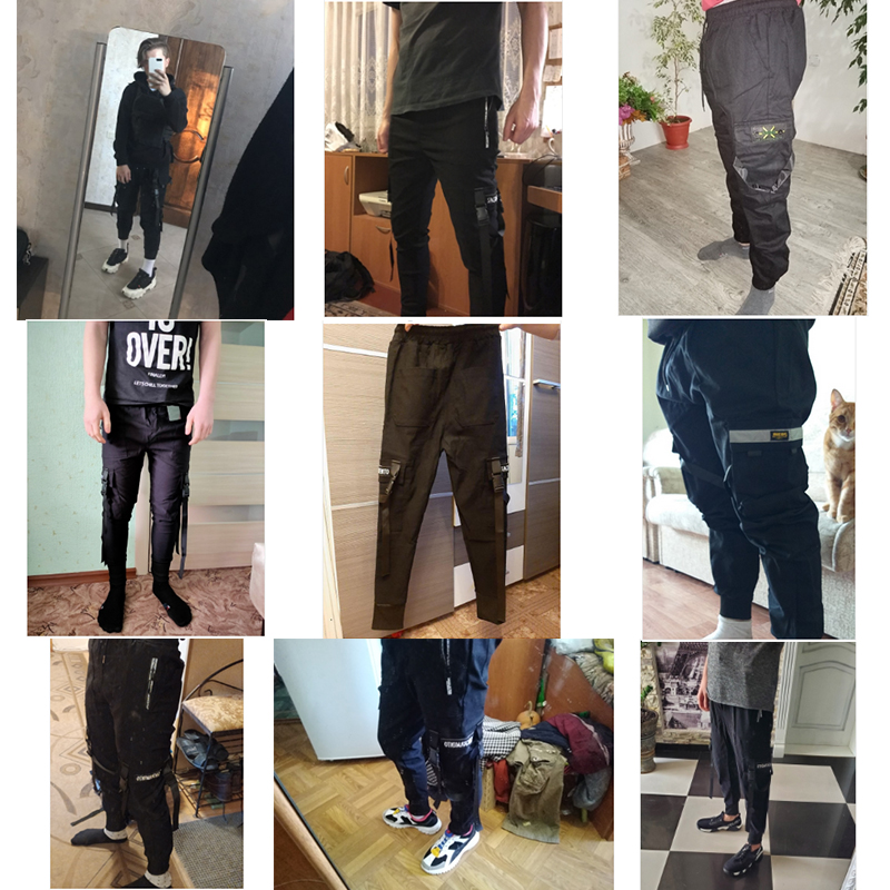 2020 new hip-hop jogger men's black harem overalls multi-pocket ribbon men's sports pants streetwear casual men's casual pants 1