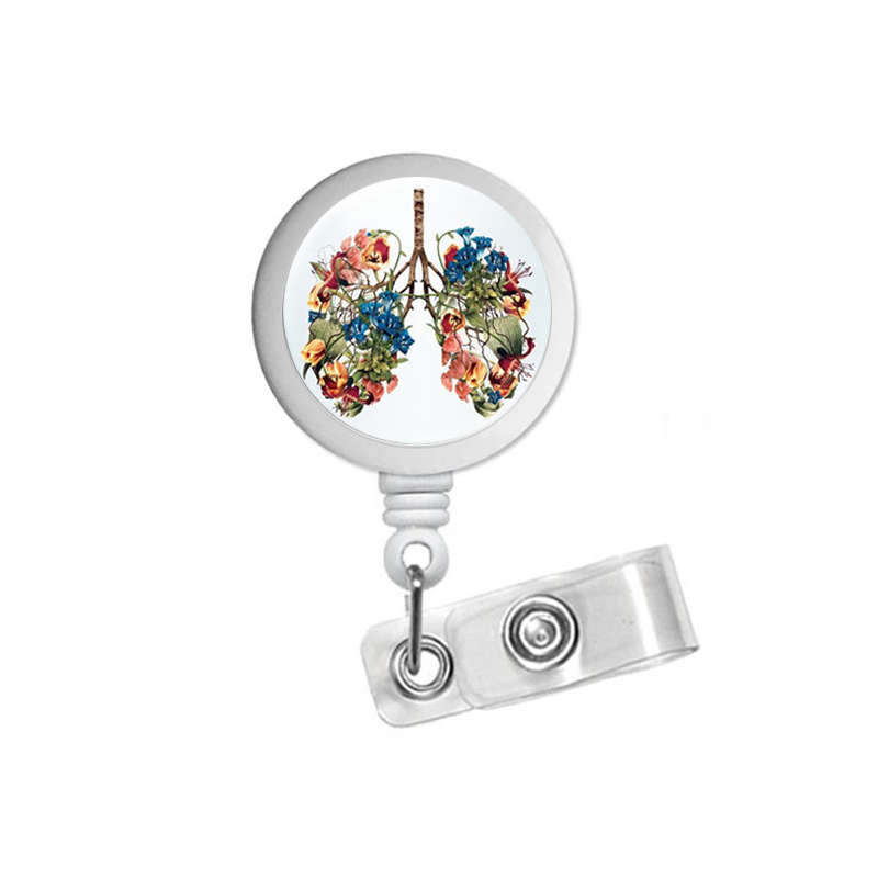 Watercolor Lung Art Respiratory Therapist ID Badge Reel Holder Clip Retractable