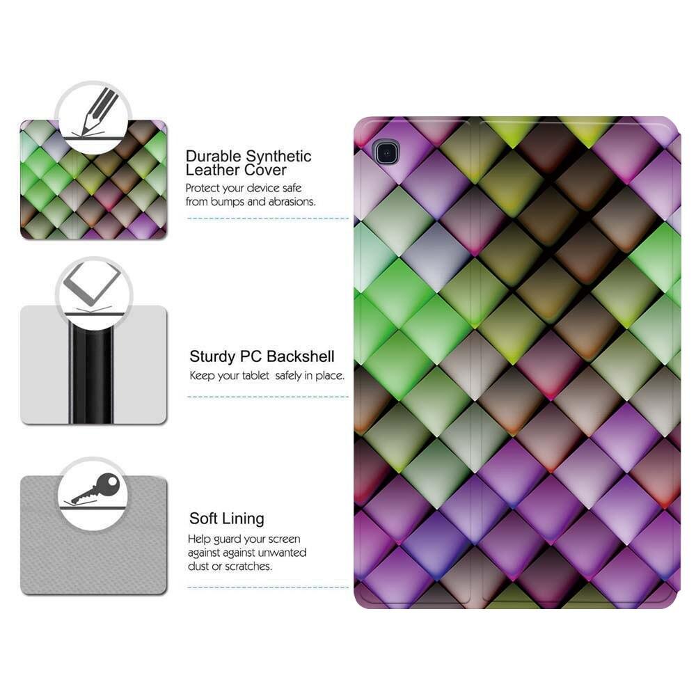 Чехол для планшета из искусственной кожи с принтом для Samsung Galaxy Tab A A6 7 10/Tab E S5E складной защитный чехол для планшета-4