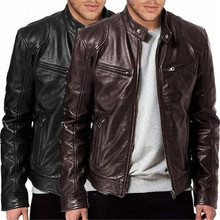 Dropshipping Men Vintage Cool Jacket Leather Long Sleeve Autumn Winter Stand Col