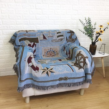 High Quality Mediterranean Cotton Line Blanket Tapestry Sofa Towel Rug Outdoor Leisure Blanket Picnic Mat Restaurant Tablecloth